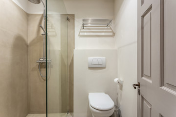 Bathroom in the apartment with a small shower.