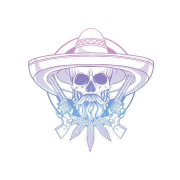 Hand drawn sketch skull with sombrero