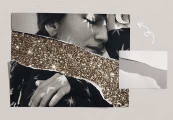 Ripped Paper Photo Collage Mockup