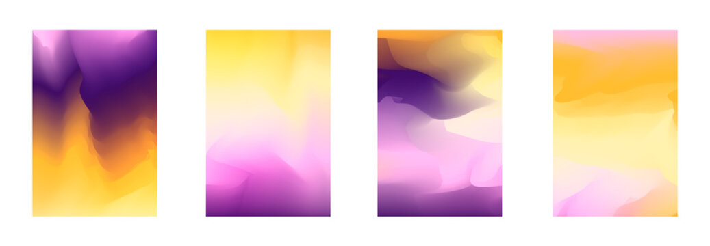 Modern bright pink and orange vibrant gradient backgrounds for fashion flyer, brochure design. Set of soft, deep purple and yellow gradiented wallpaper for mobile apps, ui, banner, poster