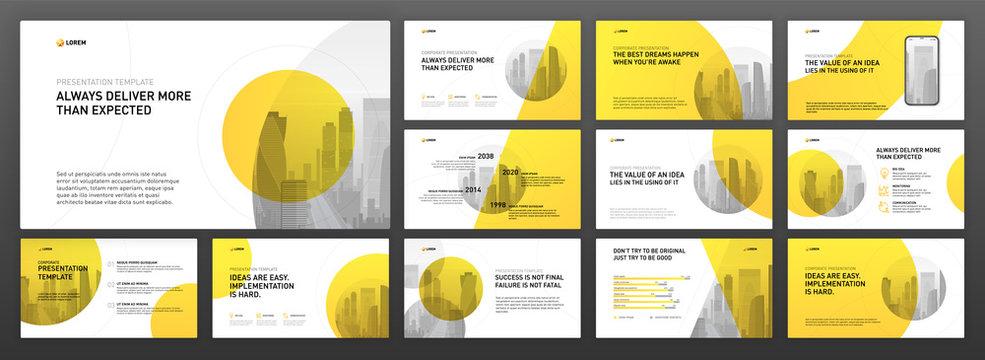 Business powerpoint presentation templates set. Use for modern keynote presentation background, brochure design, website slider, landing page, annual report, company profile, facebook banner.