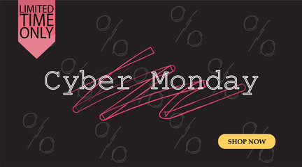 Advertising sale in honor of Cyber Monday.Colorful vector banner as promotion of special offer of discounts to the event. Attractive online trading poster.