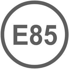 E85 fuel sign -  fuel designations in the European Union - mixture of gasoline and ethanol - Flex Fuel Vehicle (FFV) - codes - sticker - standardised