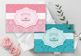 Wedding Invitation Layout with Filigree Elements