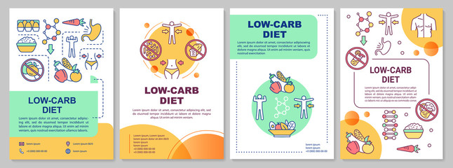 Low carb diet brochure template. Ketogenic nutrition. Flyer, booklet, leaflet print, cover design with linear illustrations. Vector page layouts for magazines, annual reports, advertising posters