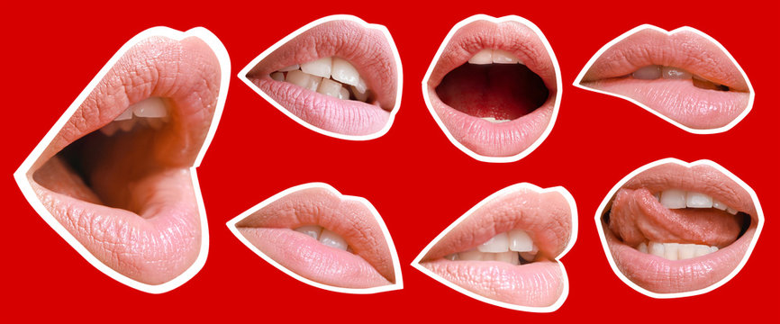 Collage with female lips on color background