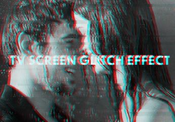 Movie Style Glitch Effect Mockup
