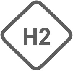 hydrogen H2 gas fuel sign -  fuel designations in the European Union - clean fuel - fuel cell - codes - sticker - standardised