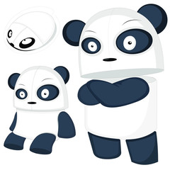 vector illustration of a cartoon panda in two positions