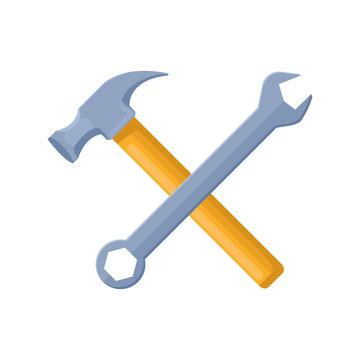 hammer and wrench icon, flat design