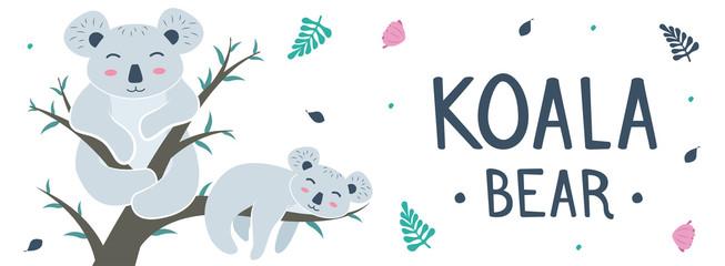 Cute Koala Poses Cartoon Vector Illustration.