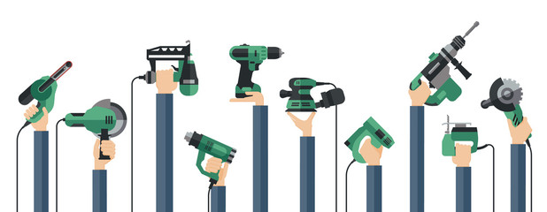 Flat design illustration of hands holding power electric hand tools. Set of master tools for wood, metal, plastic, stone, etc.
