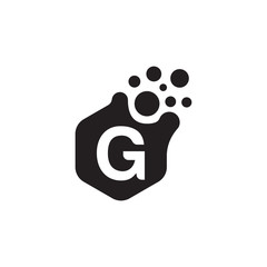 G dots logo design template. Hexagon G icon. G Letter Logo Vector.