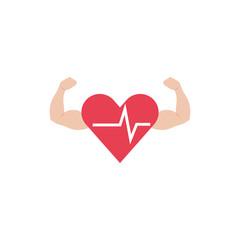 Isolated heart pulse flat design