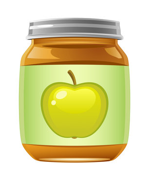 Jar of baby food on a white background