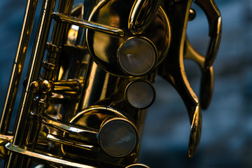 Close up of the kerys of a saxophone