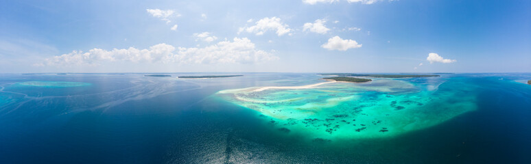 Aerial view tropical beach island reef caribbean sea. White sand bar Snake Island, Indonesia Moluccas archipelago, Kei Islands, Banda Sea, travel destination, best diving snorkeling