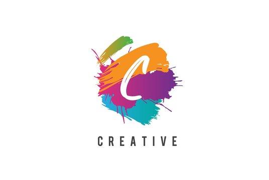Hand lettering brush initial letter C inside colorful paintbrush template design