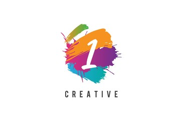 Hand lettering brush initial number 1 inside colorful paintbrush template design