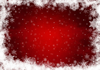 Red Winter Background with snowflakes. Christmas card.