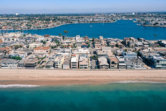 Aerial view of Belmont Shore from the ocean.