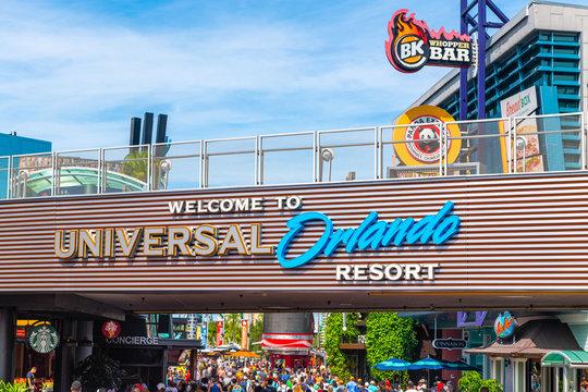 Welcome sing at Universal Studios Park, Orlando, Florida, USA. Travel illustrative editorial image