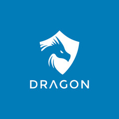 Vector head of a dragon in the form of a shield illustration, logotype, print, emblem design on a blue background.