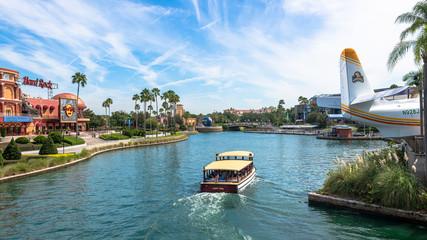 Cruise boat at Universal Studios Orlando Florida USA. Travel illustrative editorial image
