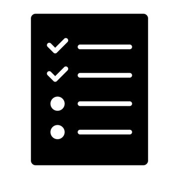 Document with logs, checklist or survey flat vector icon for apps and websites