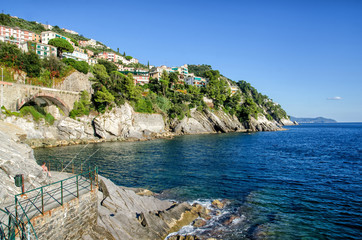 Breathtaking view on Mediterranean sea beach on Liguria region in Italy. Awesome landscape of Zoagli with colorful houses.
