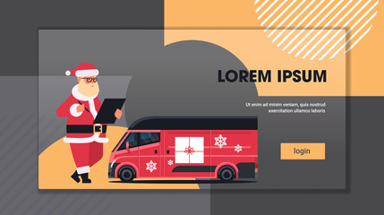 santa claus writing on clipboard near delivery van with gift boxes shipping transport for merry christmas happy new year winter holidays celebration concept horizontal copy space flat vector