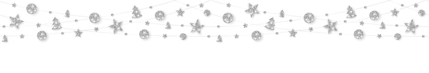 Wall Mural - Vector seamless decoration. Silver ornaments on white background.