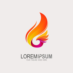 Eagle logo with fire icon, Phoenix logo template, Fire-bird, Eagle logo
