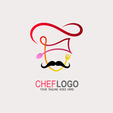 Chef logo with line, Abstract vector chef logo. chef hat. chef face with mustache. restaurant or cafe,