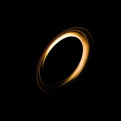 Abstract Background of ring light with luminous swirling on black
