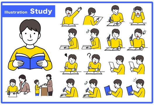 男の子 勉強 イラストセット