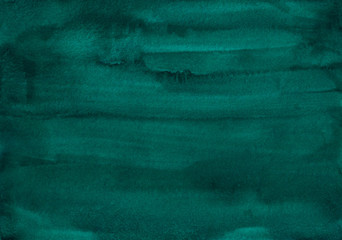 Watercolor dark emerald background texture. Aquarelle abstract sea green backdrop.