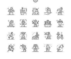 Flowers in Pots Well-crafted Pixel Perfect Vector Thin Line Icons 30 2x Grid for Web Graphics and Apps. Simple Minimal Pictogram