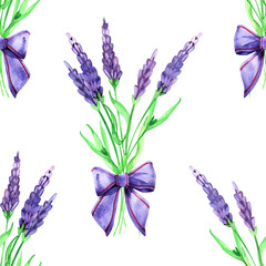 Gentle watercolor floral lavender seamless. Hand painting. Watercolor. Seamless pattern for fabric, paper and other printing and web projects.
