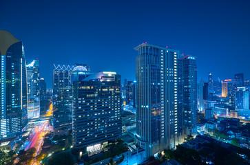 Fotomurales - Cityscape night view of Bangkok