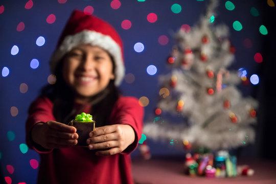 Niña con regalo, Adornando la navidad fiesta decembrina