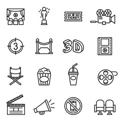 Movie, Cinema, Film icons set with white background. Thin Line Style stock vector.