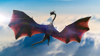 dragon, gigantic winged creature flying in the sky