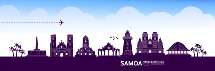 Fototapete - Samoa travel destination grand vector illustration.