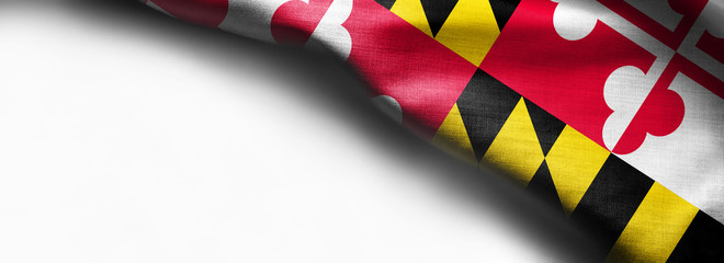 Fabric texture of the Maryland Flag background - flag on white background - right top corner - free copy space