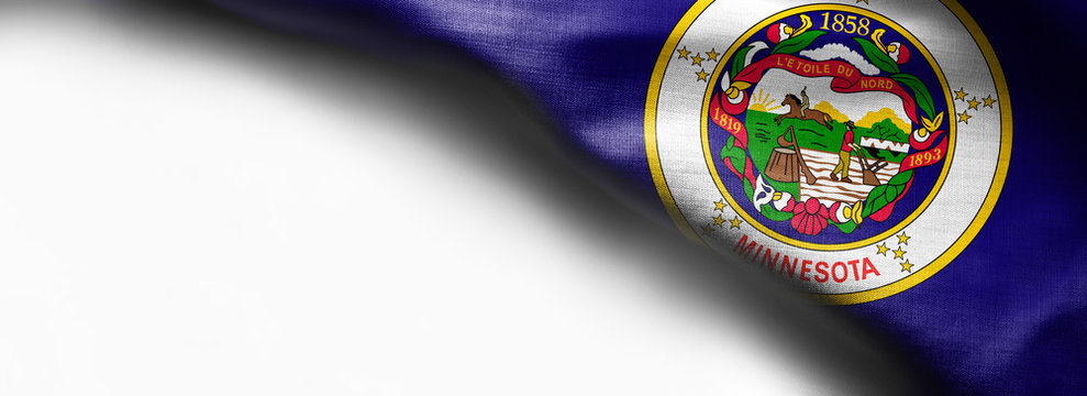 Fabric texture of the Minnesota Flag background - flag on white background - right top corner - free copy space