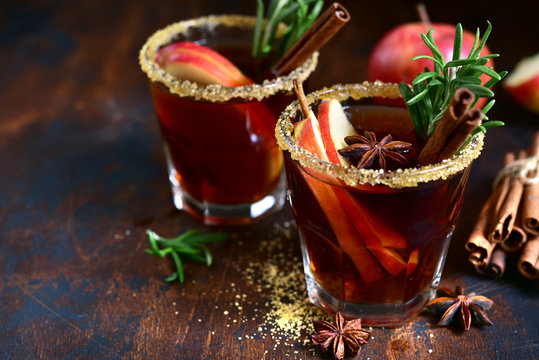 Punch - traditional german alcoholic hot drink with fruits and spices.