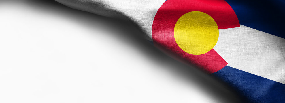 Fabric texture of the Colorado Flag background - flag on white background - right top corner - free copy space