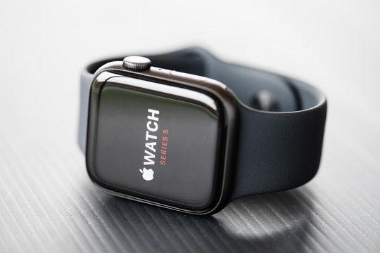 NOVA BANA, SLOVAKIA - NOV 12, 2019: New Apple Watch Series 5