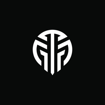 Initial letter GT or TG logo template with modern abstract mask or spartan helmet illustratrion in flat design monogram symbol
